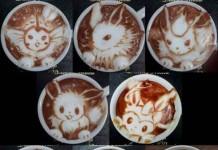 Cartoons Latte Arts Talk Cock Sing Song