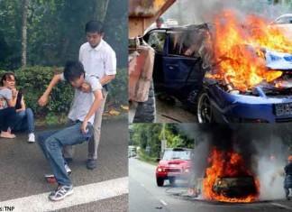 Singapore Hero Pulls Man Out of Burning Car Talk Cock Sing Song