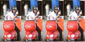Suntec City Red Vespa Road Rage Talk Cock Sing Song