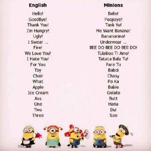 Minions Translation Talk Cock Sing Song