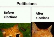 Politicians Before and After Elections Talk Cock Sing Song