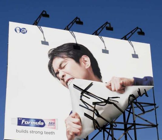 Formula Toothpaste Builds Strong Teeth Billboard Ad Talk Cock Sing Song