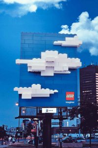 LEGO White 3D Clouds Billboard Ad Talk Cock Sing Song