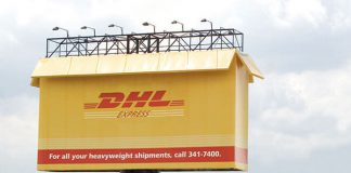 DHL Express Box Billboard Ad Talk Cock Sing Song