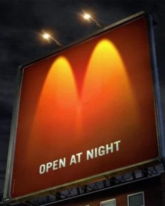 McDonald's Opens at Night Billboard Ad Talk Cock Sing Song